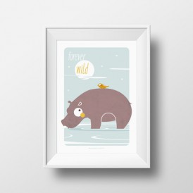 Affiche Enfant Rhino Forever Wild