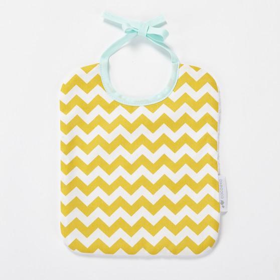Bavoir bébé chevron jaune moutarde