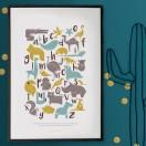 Affiche abc animaux bleu