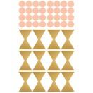 Planche Stickers Noeud et Pois or et rose poudré