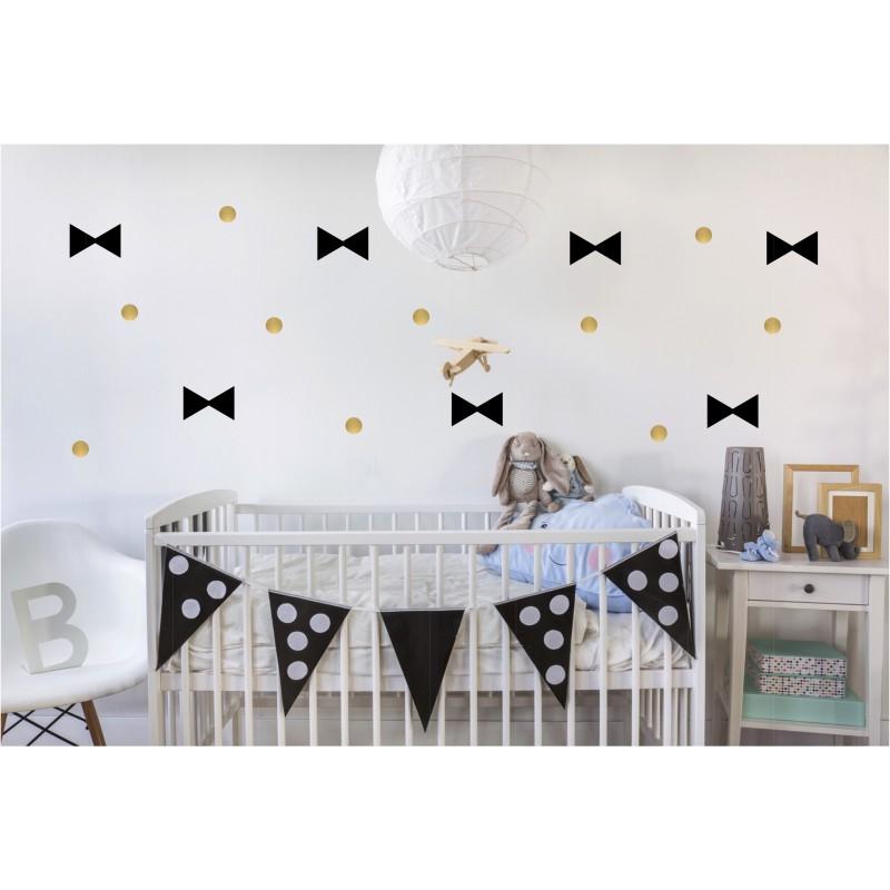 stickers mural enfant noeud et pois or et noir p m le bonhomme. Black Bedroom Furniture Sets. Home Design Ideas