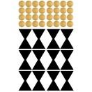 Planche stickers Noeud et Pois noir et or