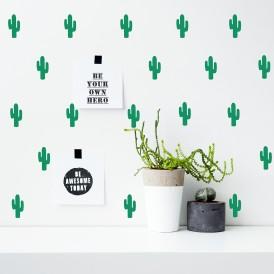 Boite Stickers cactus vert pom