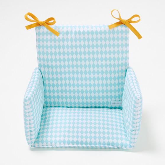 coussin de chaise haute losanges bleu. Black Bedroom Furniture Sets. Home Design Ideas