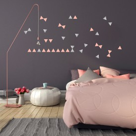 Stickers triangle argent et rose