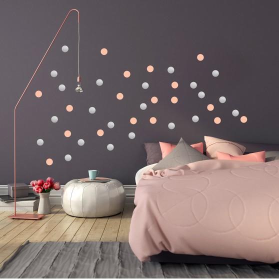 stickers muraux originaux pom le bonhomme argent et rose cocoeko. Black Bedroom Furniture Sets. Home Design Ideas