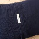 Coussin double gaze ouverture portefeuille bleu nuit