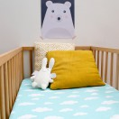 Drap housse lit bébé bleu